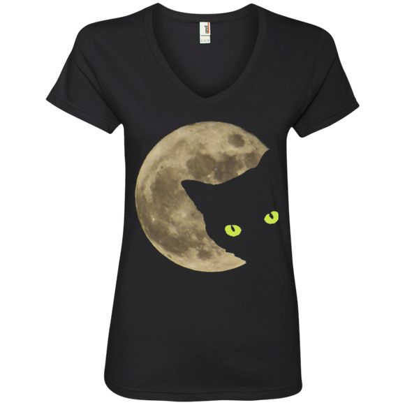 Moon Cat Ladies V-Neck T-Shirt