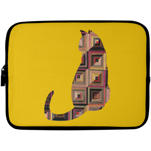 Log Cabin Cat Laptop Sleeve - 10 inch