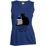 Cat-Tea-Book-Happy Ladies Sleeveless Moisture Absorbing V-Neck