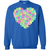 Heartful of Cats Crewneck Pullover Sweatshirt