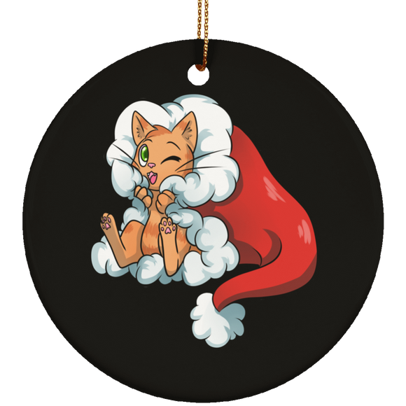 Santa Kitty Ceramic Ornaments in 4 Shapes