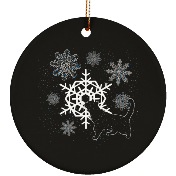 Cat and Snowflakes Ceramic Ornaments in 4 Shapes