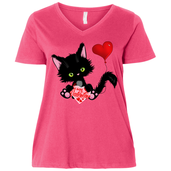 Lucky the Black Cat with Valentine Ladies Curvy T-Shirts