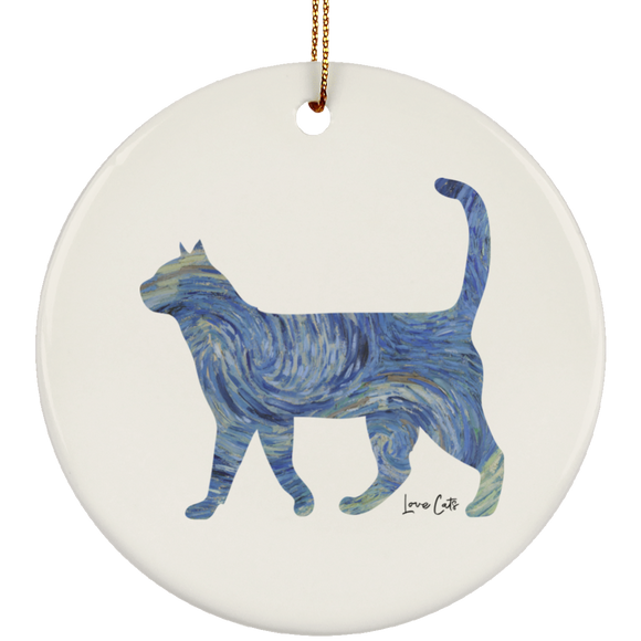 Starry Night Tabby Ceramic Ornaments in 4 Shapes