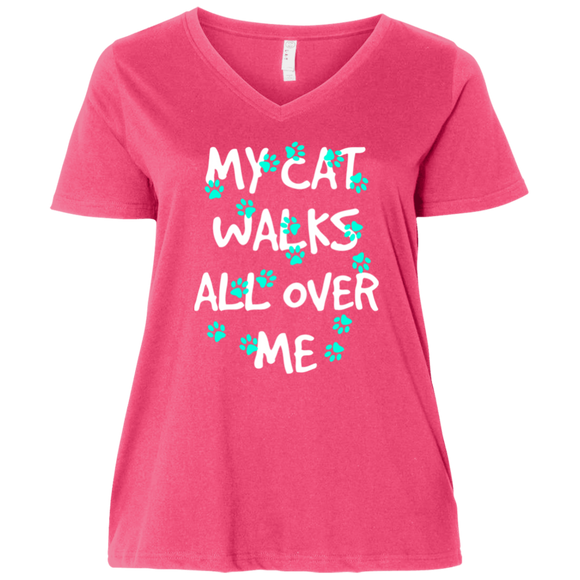 My Cat Walks All Over Me - Turquoise Pawprints Ladies Curvy T-Shirts