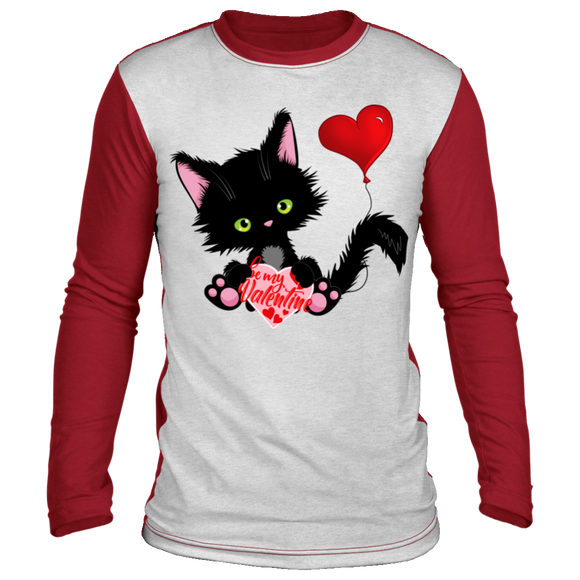 Lucky the Black Cat with Valentine Long Sleeve Lounge Shirt