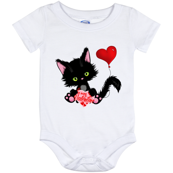 Lucky the Black Cat with Valentine Baby Bodysuits