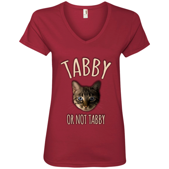 Tabby or Not Tabby Ladies V-Neck T-Shirt