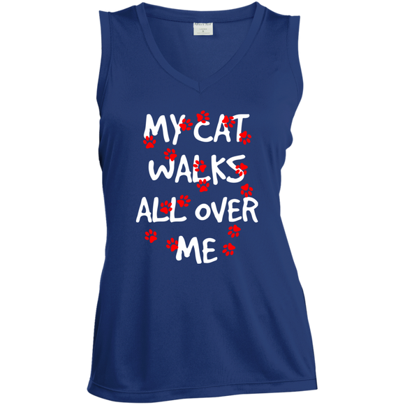 My Cat Walks All Over Me Ladies Sleeveless Moisture Absorbing V-Neck