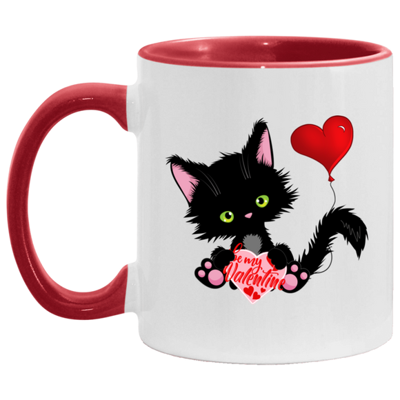 Lucky the Black Cat with Valentine Red Accent Mug