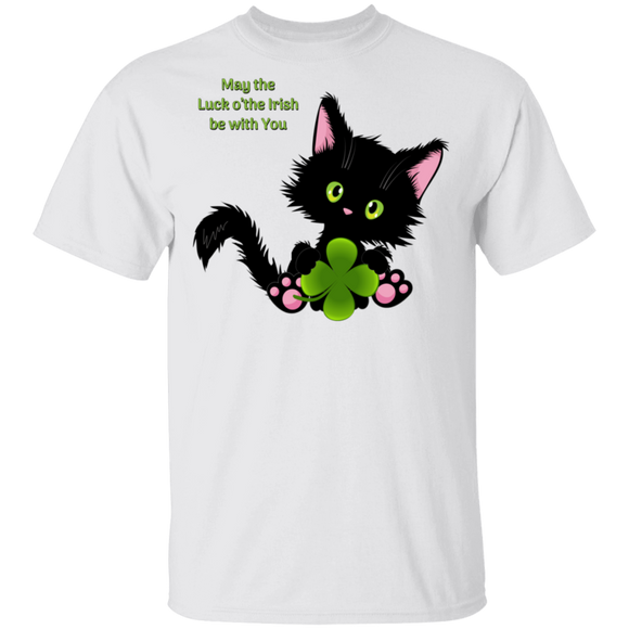 Lucky the Black Cat with Shamrock T-Shirt