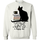 Cat-Tea-Book-Happy Crewneck Pullover Sweatshirt