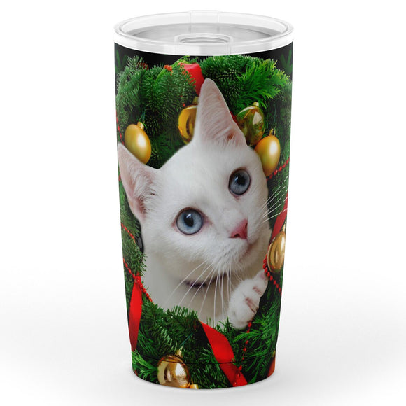 White Kitty in Wreath - Christmas Travel Mug