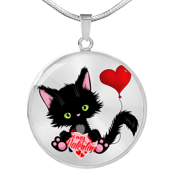 Lucky the Black Cat with Valentine - Luxury Pendant Necklace in Silver or Gold