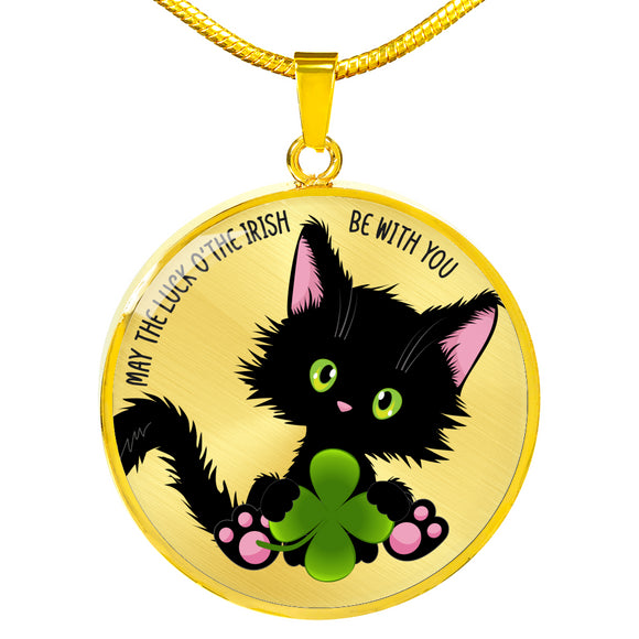 Lucky the Black Cat with Shamrock - Luxury Pendant Necklace in Silver or Gold