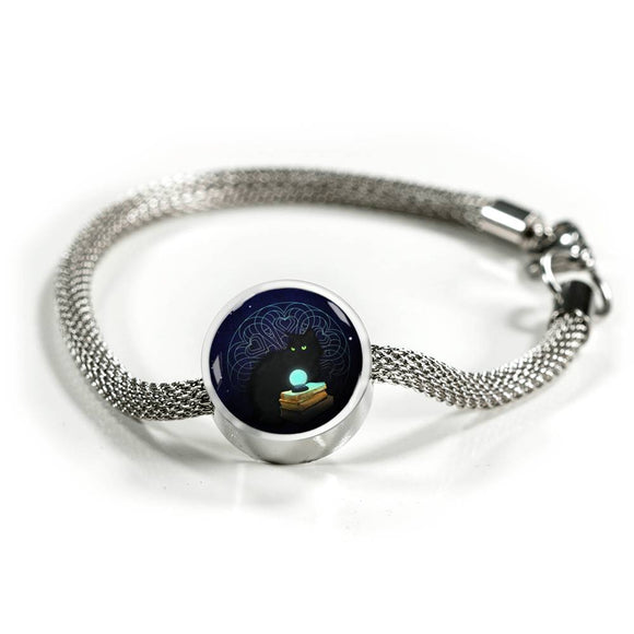 Midnight Magic Luxury Steel Bracelet with Circle Charm