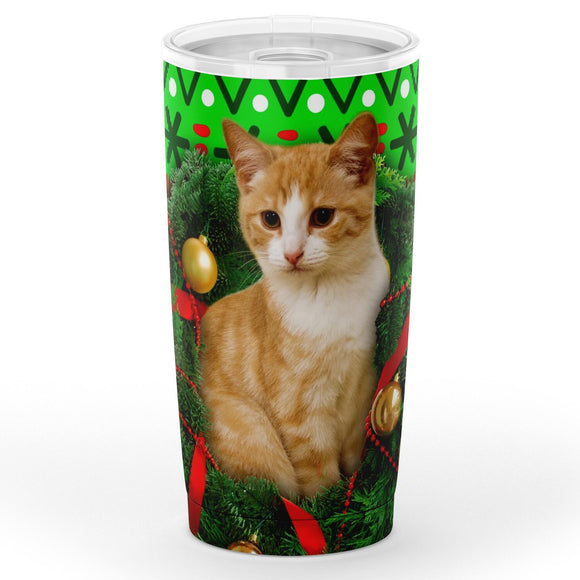 Orange Tabby Cat Christmas Travel Mug