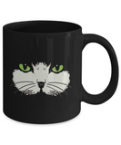 Green-Eyed Cat Face Mug (black) (11 oz) - Raven's World - 2