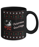 Cat in Wreath - Christmas Greetings Mug (11 oz)