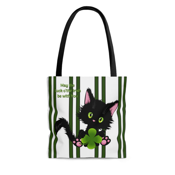 Lucky the Black Cat with Shamrock - Cloth Tote Bag