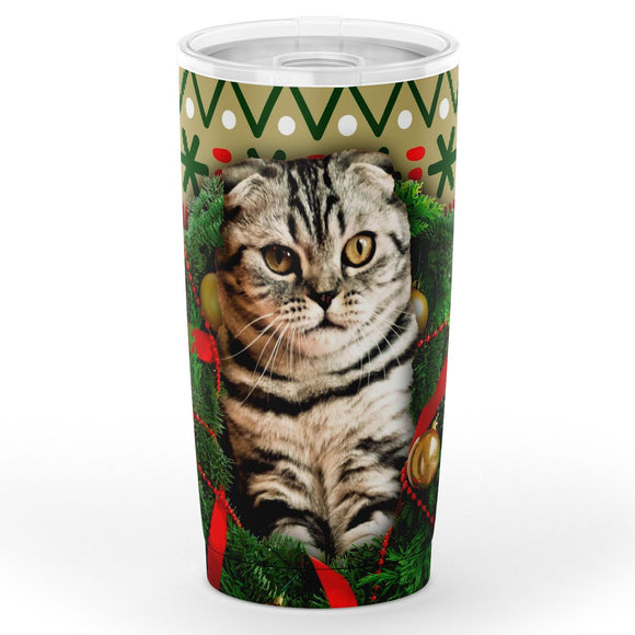 Scottish Fold Cat Christmas Travel Mug