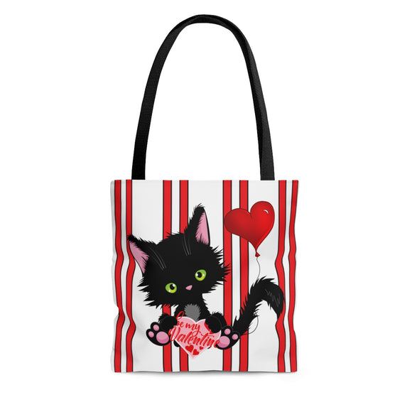 Lucky the Black Cat with Valentine - Cloth Tote Bag