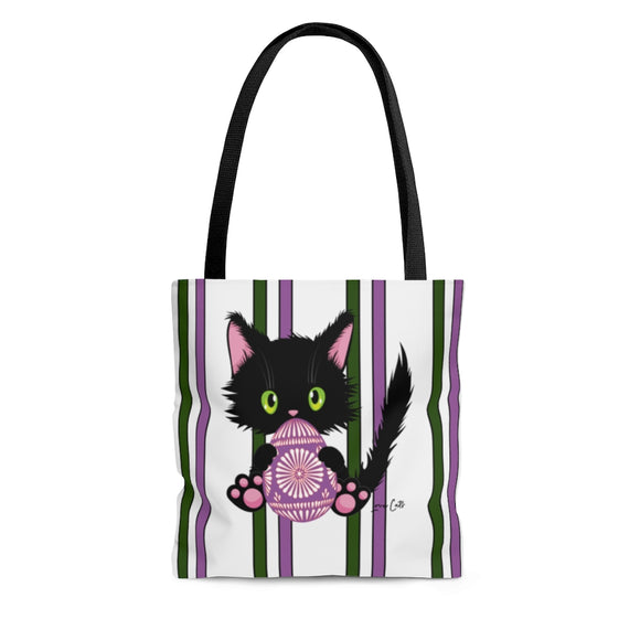 Lucky the Black Cat with Easter Egg Cloth Tote Bag