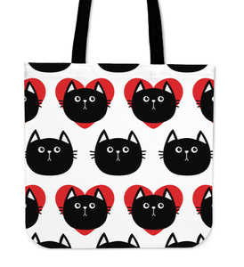 Hearts Black Cat Cloth Tote Bag
