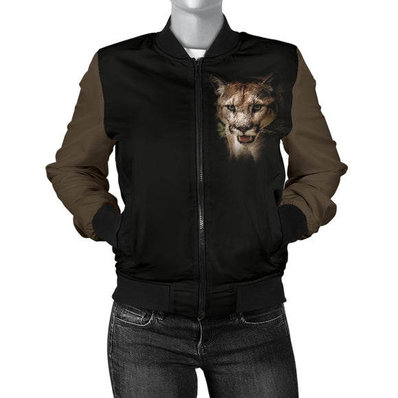 Cougar Portrait Womens Bomber Jacket