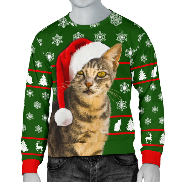 Santa Tabby Mens Christmas Sweater