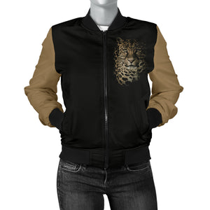 Leopard Portrait Womens Bomber Jacket