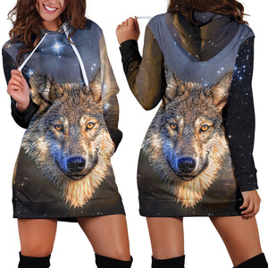 Galaxy Wolf Hoodie Dress