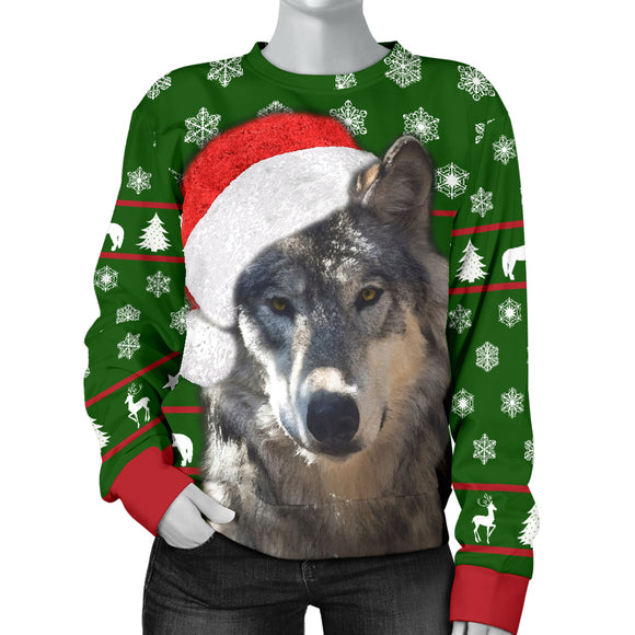 Santa Wolf Womens Christmas Sweater