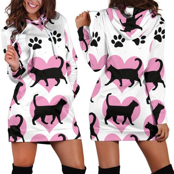 Black Cats & Hearts Hoodie Dress