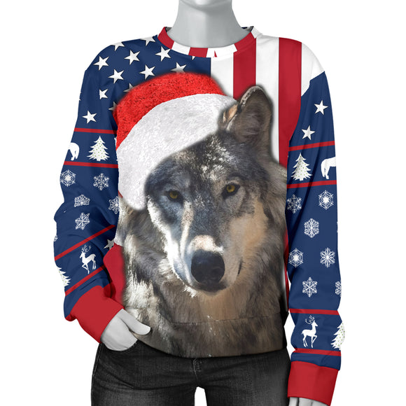 Santa Wolf Flag Womens Sweater