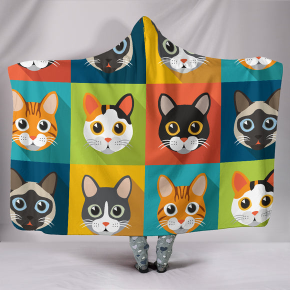 Cute Cats Warhol-Style Hooded Blanket for Cat Lovers