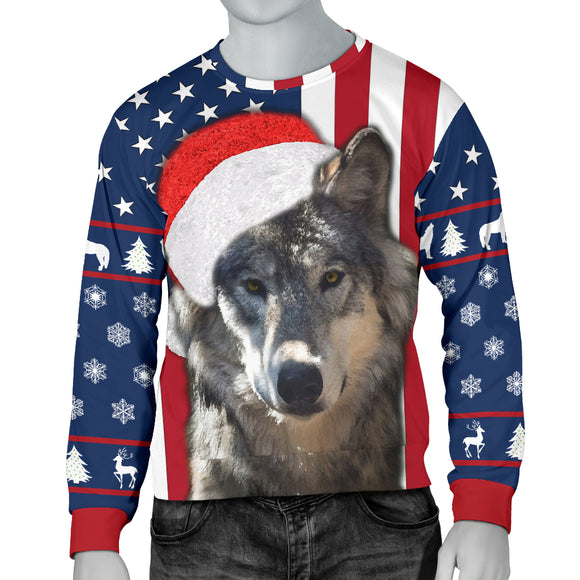 Santa Wolf Flag Mens Sweater