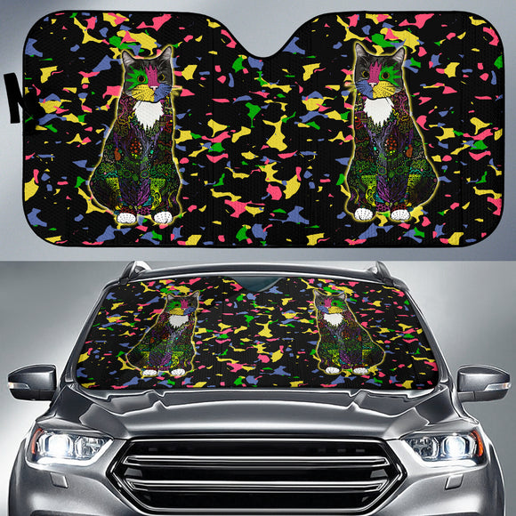 Colorful Tuxedo Cat - Auto Sunshade