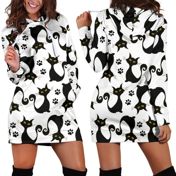 Black Cat Pattern Hoodie Dress
