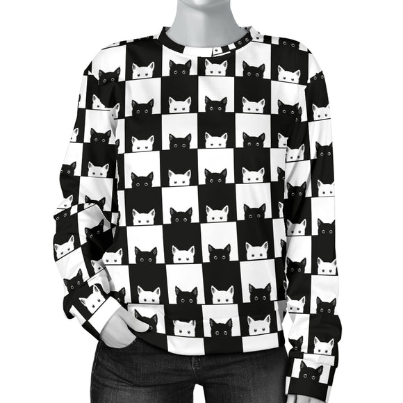 Black and White Cats Women's Sweater