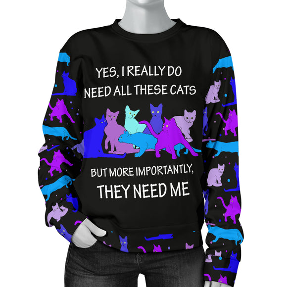 They Need Me - Blue Cats Womens Sweater