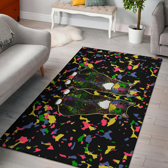 Colorful Tuxedo Cat - Area Rugs