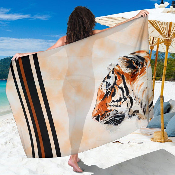 Watercolor Tiger Face Sarong / Scarf