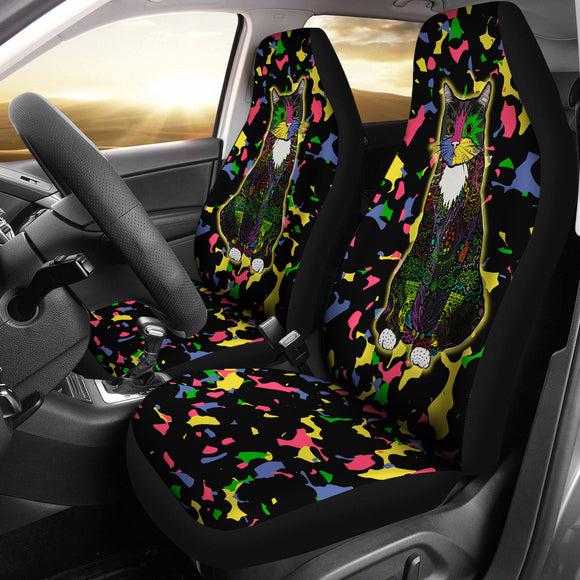 Colorful Tuxedo Cat - Car Seat Covers