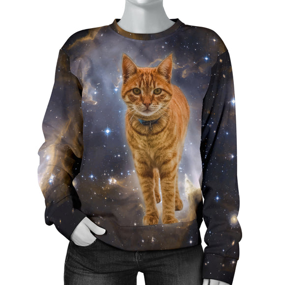 Galaxy Cat Womens Sweater