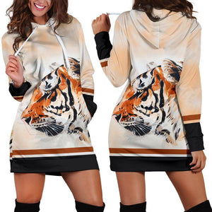 Watercolor Tiger Face Hoodie Dress