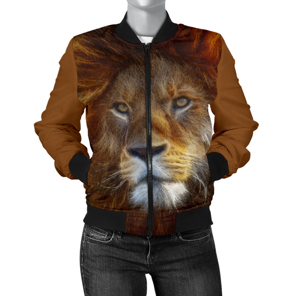 Lion Face Womens Bomber Jacket