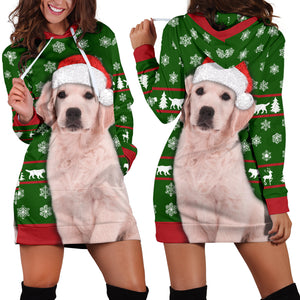 Santa Golden Retriever Christmas Hoodie Dress
