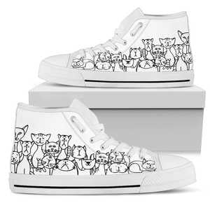 Cat Crowd Womens High Top Shoes