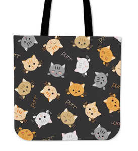 Grey Background Cat Faces - Cloth Tote Bag